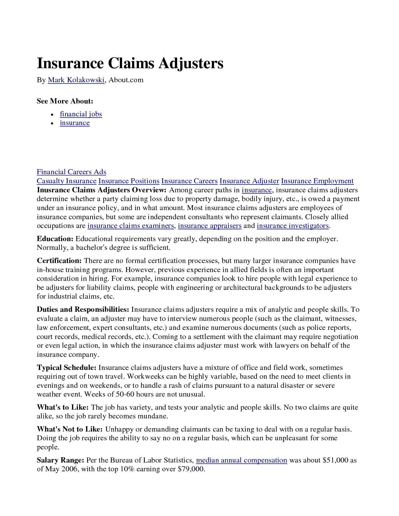 Claims adjuster quotes quotesgram for Cover letter for claims adjuster position