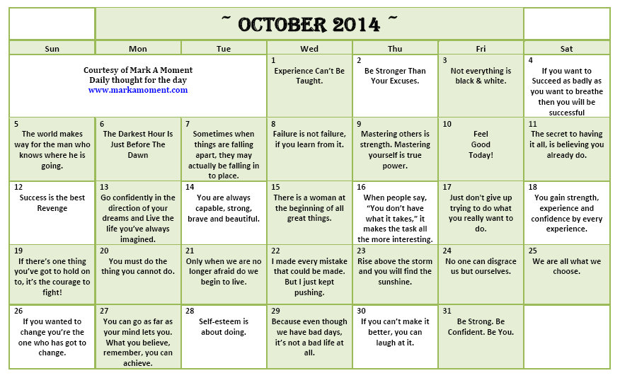 Calendar Monthly Quotes : Calendar october quotes quotesgram