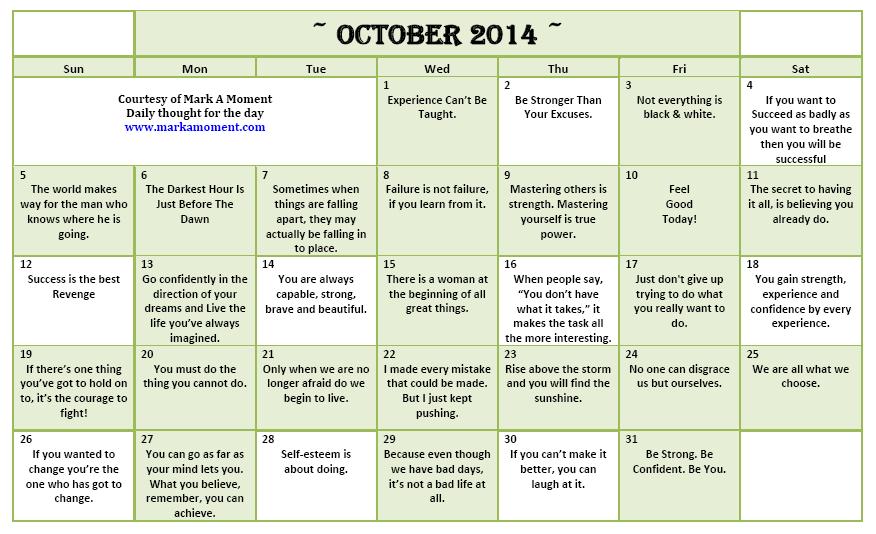 calendar october quotes  quotesgram
