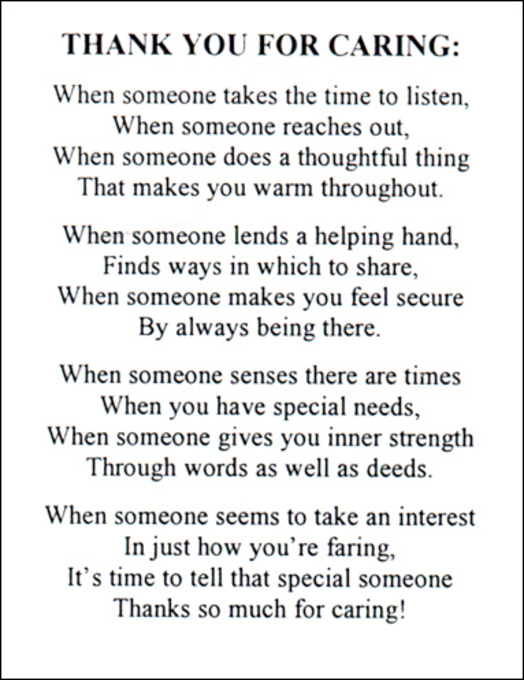 Poems About Caring For Someone Special