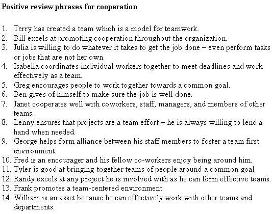 1188519072-Positive-review-phrases-cooperation Teamwork Performance Review Phrases Examples on car salesmen performance review example, integrity performance review example, good employee review example, teamwork phrases for performance,