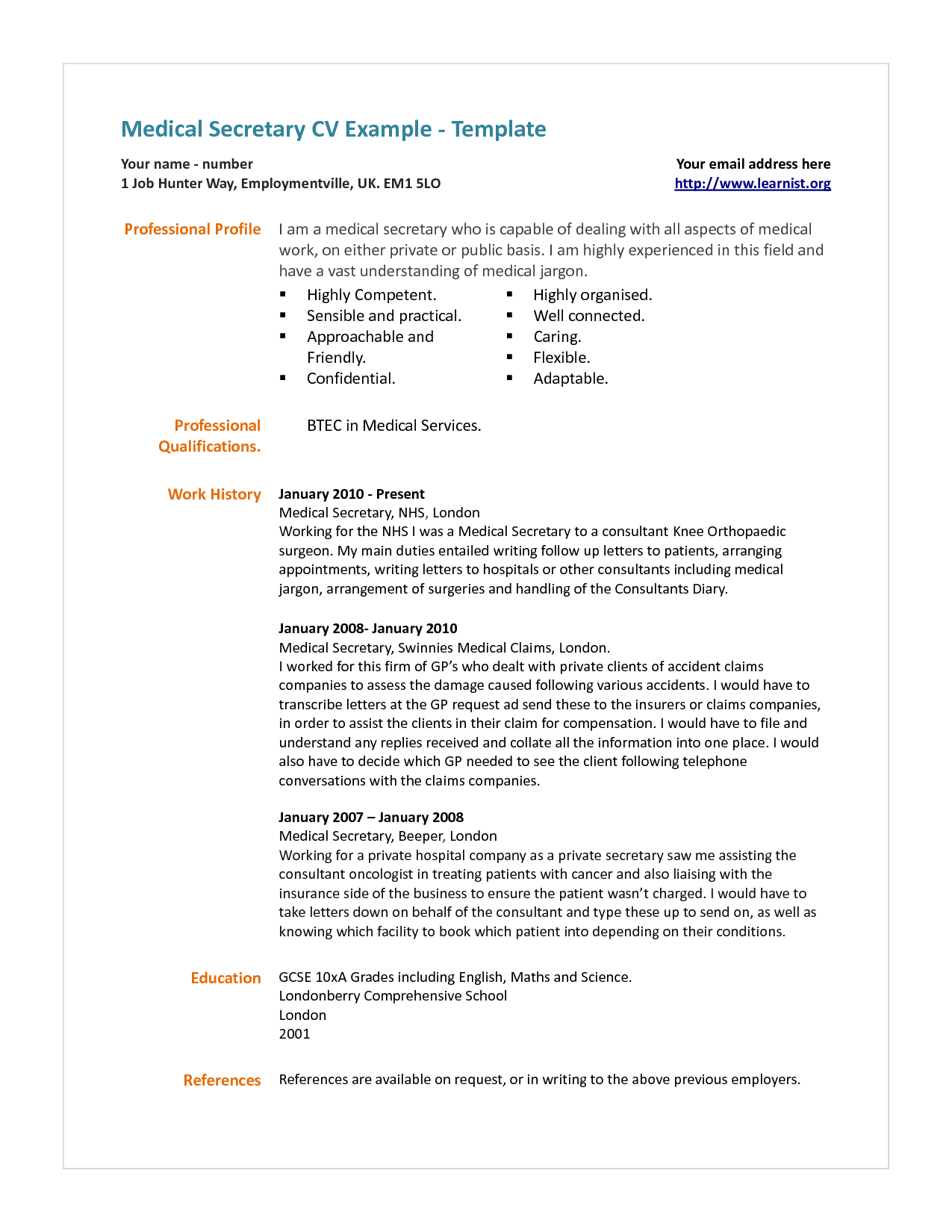 Cover letter for medical secretary resume