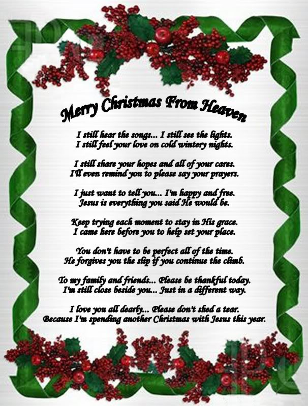 This is a graphic of Playful Christmas in Heaven Poem Printable