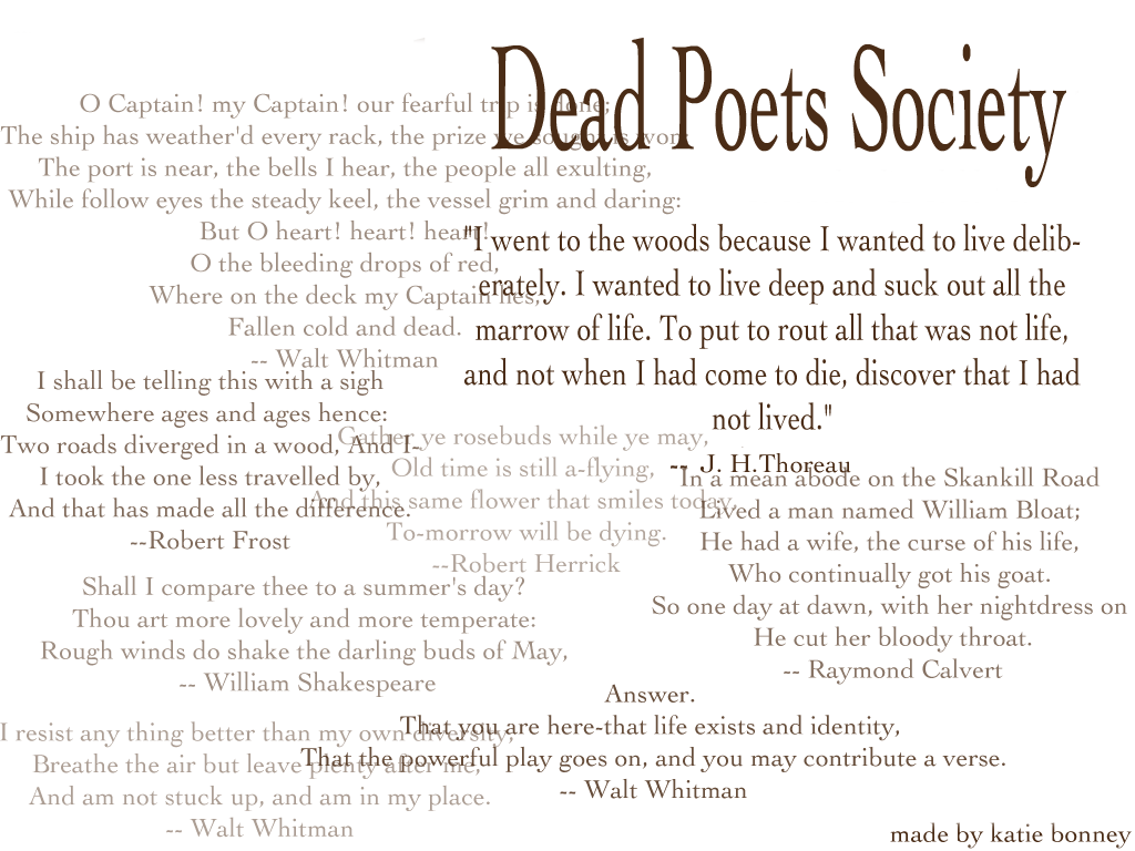 dead papers poet society thesis
