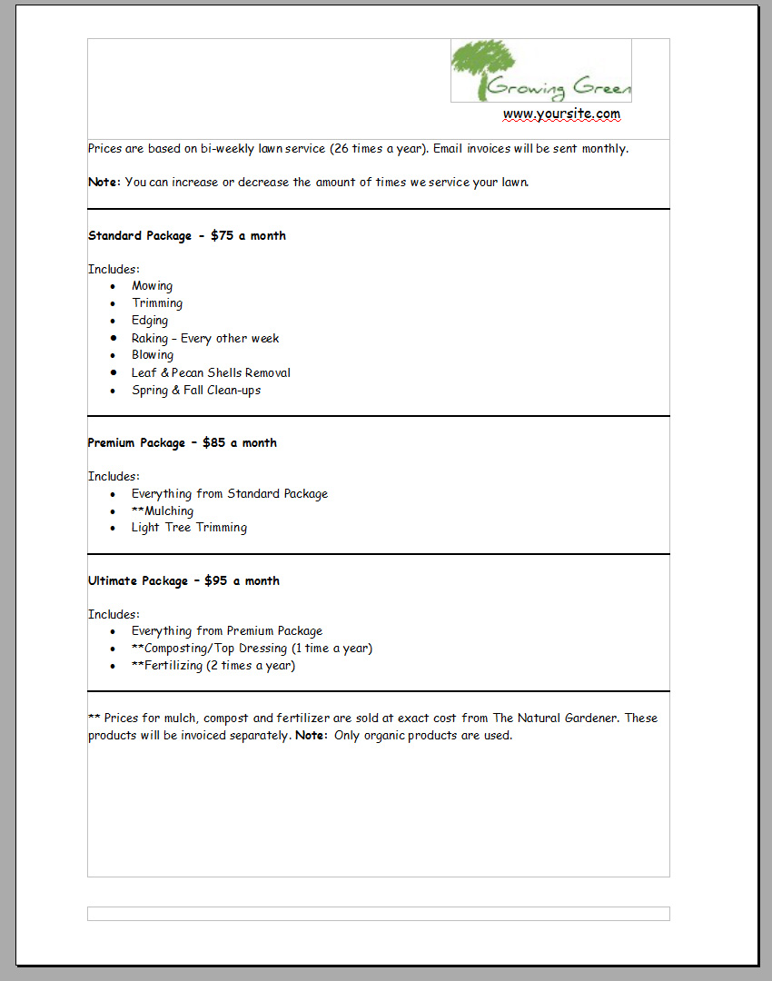 Lawn Care Bid Template. 6 landscaping estimate templates free word ...
