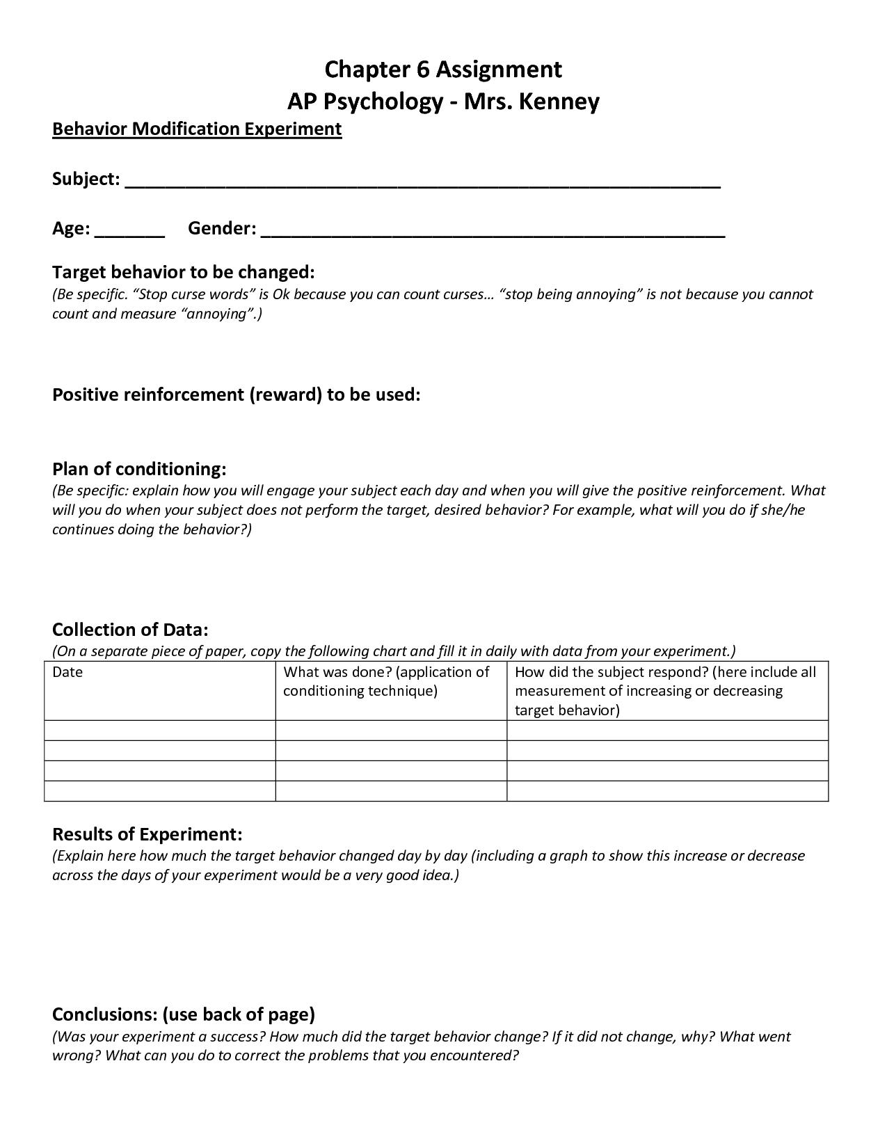 Online Behavior Modification Class