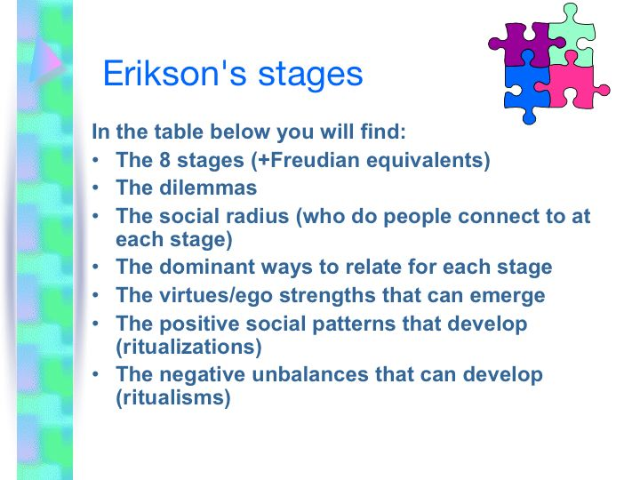 stages in personality development Erik erikson's theory of psychosocial development emphasizes the sociocultural determinants of development this identity is composed of the different personality traits that can be considered positive or negative erik erikson's stages of psychosocial development stage one.
