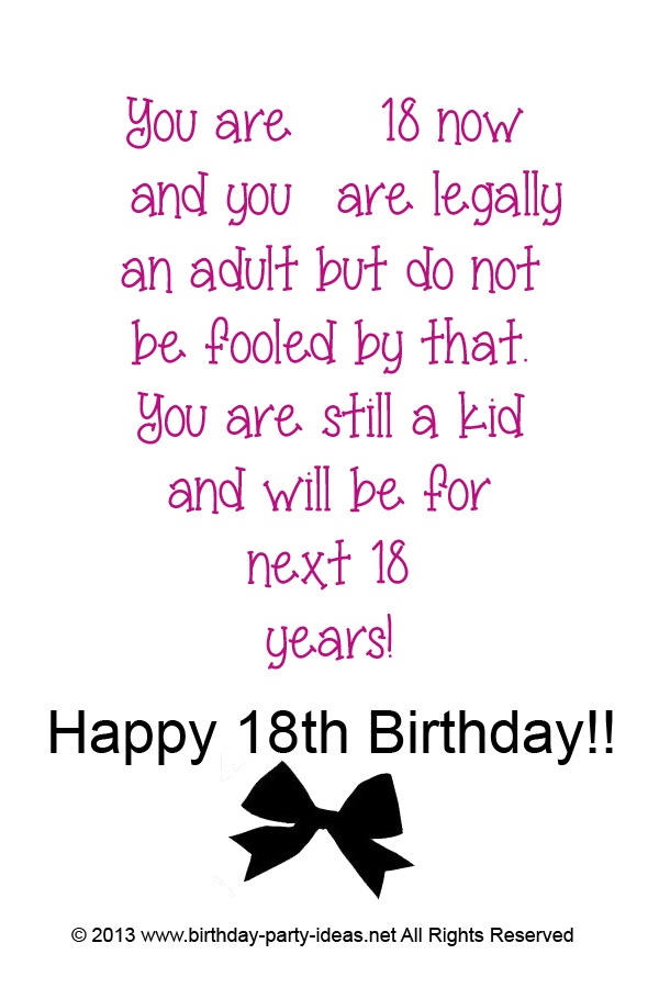 Birthday Quotes For Daughter Turning 18: Funny Quotes For Boys 18th Birthday. QuotesGram