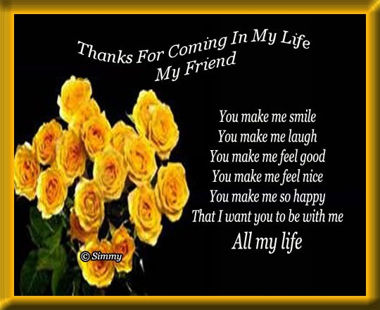 Comming With Quotes Thanks Quotesgram: Thanks For Being In My Life Quotes. QuotesGram