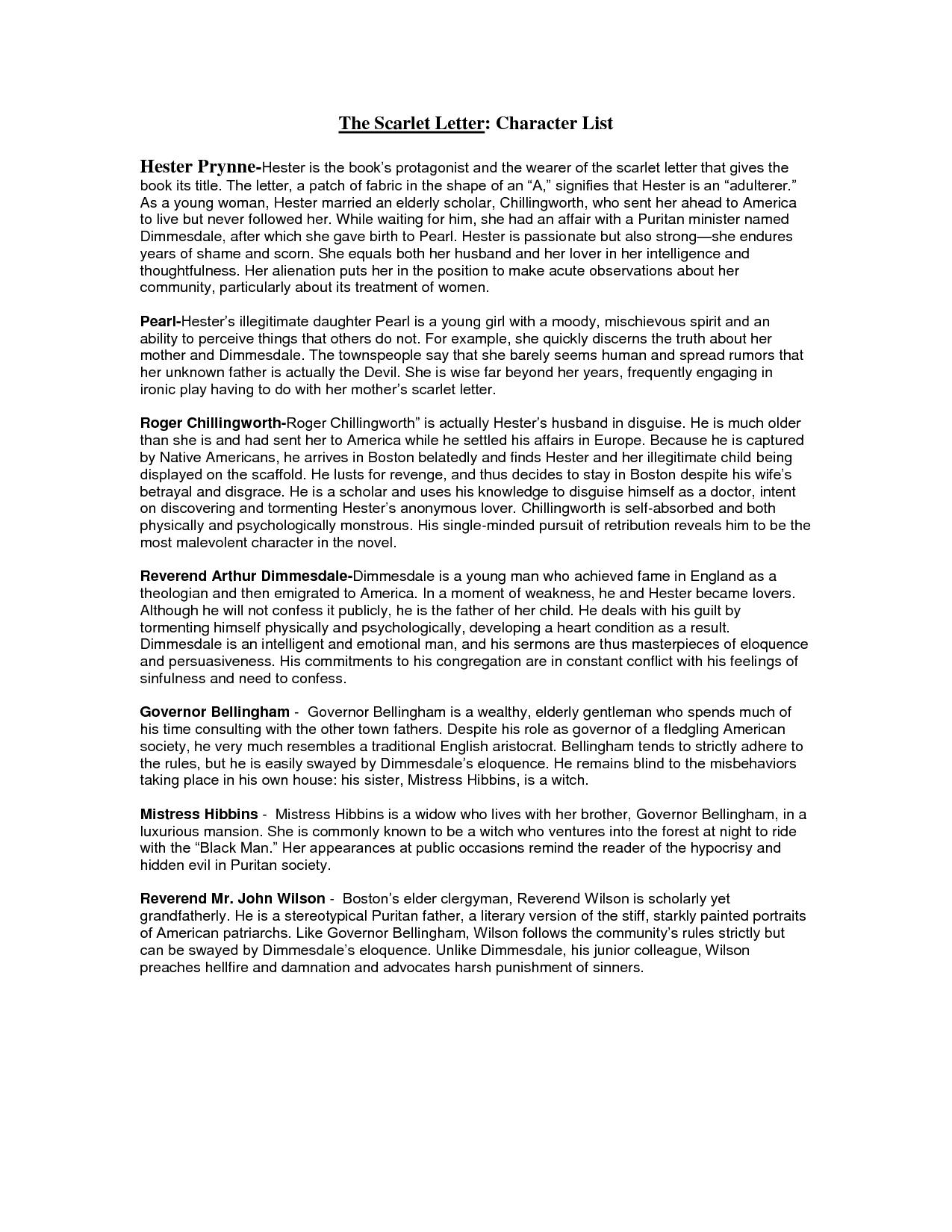 scarlet letter character analysis essay hester