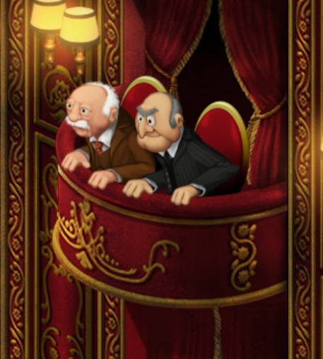 Statler and waldorf quotes quotesgram for Balcony muppets