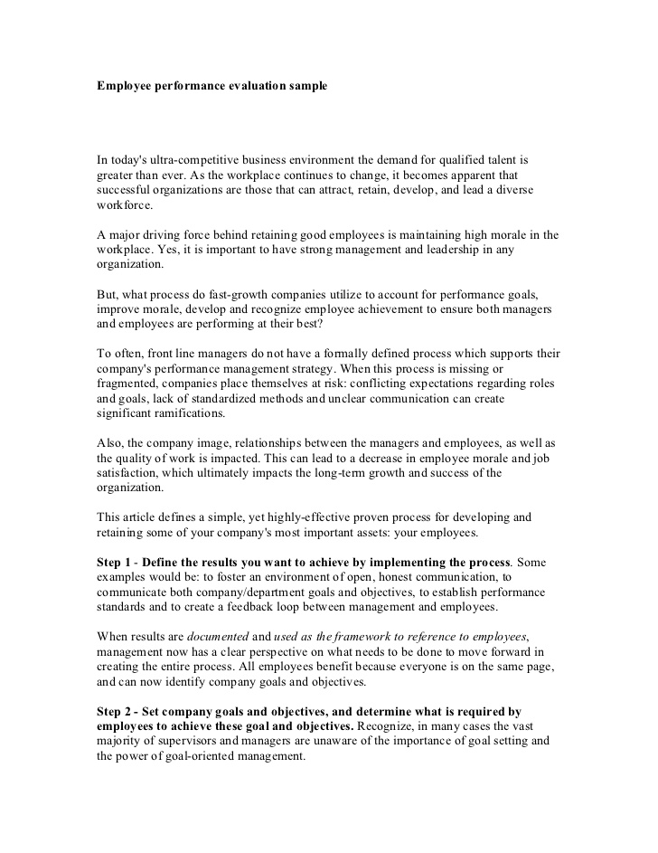 Letter of employee evaluation