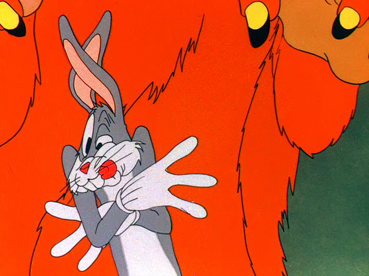 Bugs bunny and hairy monster