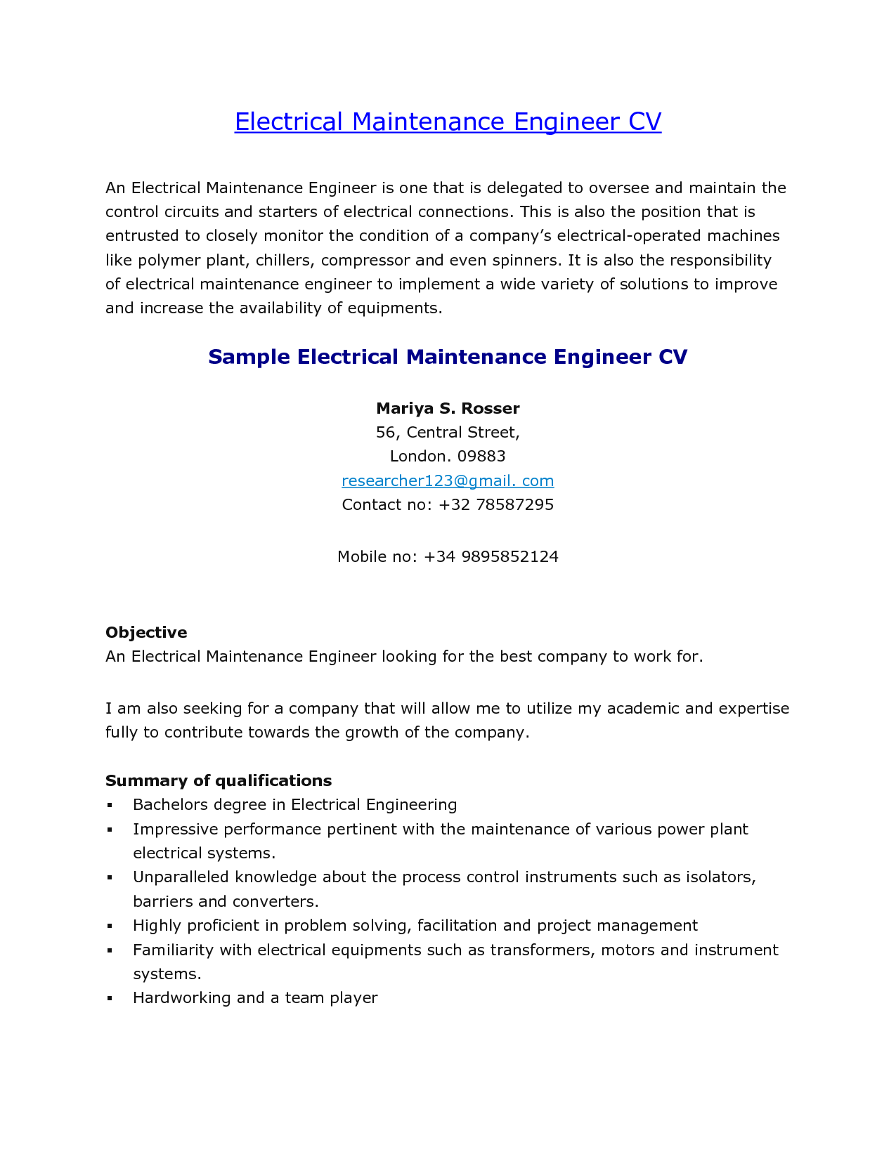sample resume of electrical maintenance engineer