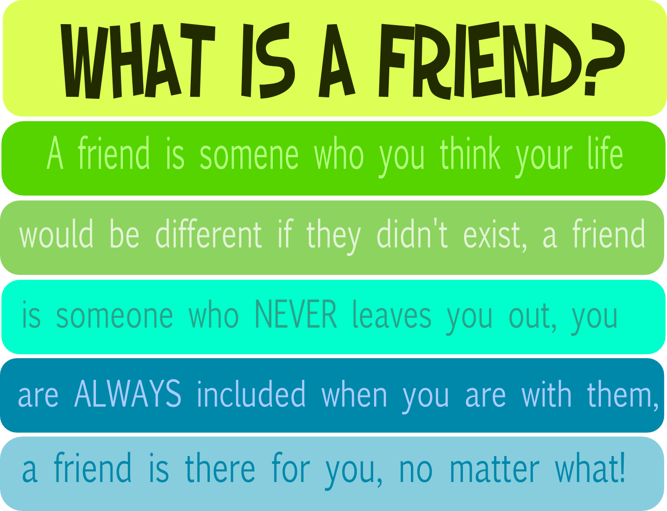 what being a friend means to me What do you guys think it means to be a have you ever had a friend who complains about being stuck in the what does it mean to be a girlfriend/boyfriend.