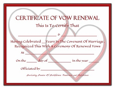 from Ivan gay renewal of vowes certificate