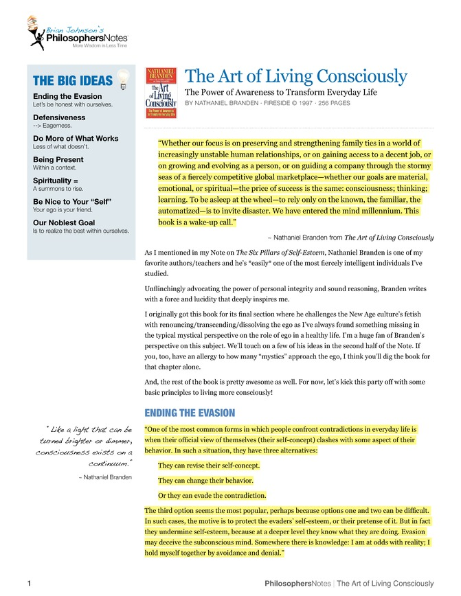 the art of living consciously pdf