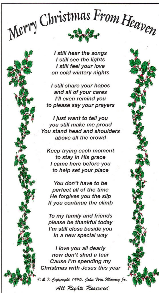 Obsessed image inside merry christmas from heaven poem printable