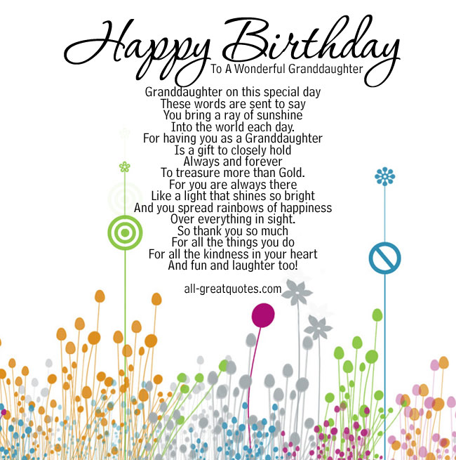 Happy Birthday Granddaughter Quotes. QuotesGram