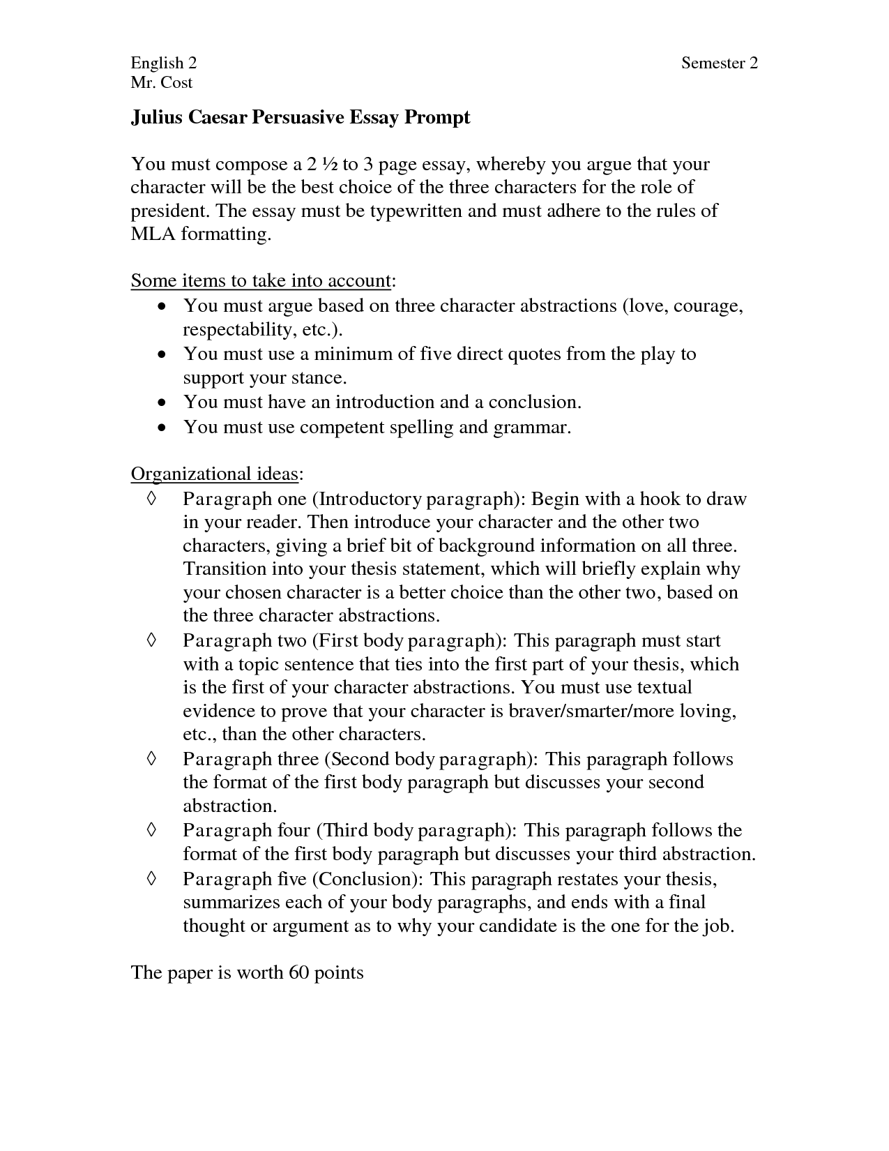 Persuasive essay example middle school