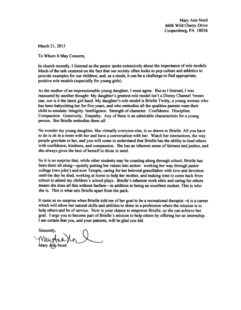 sample recommendation letter for social work program