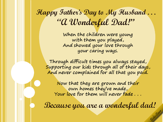 Fathers Day Poems for Husband from wife