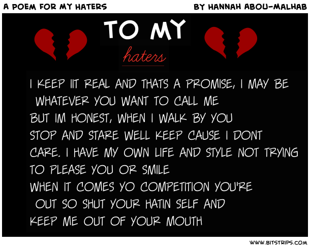 I Hate My Self Poems: Hater Quotes That Rhyme. QuotesGram