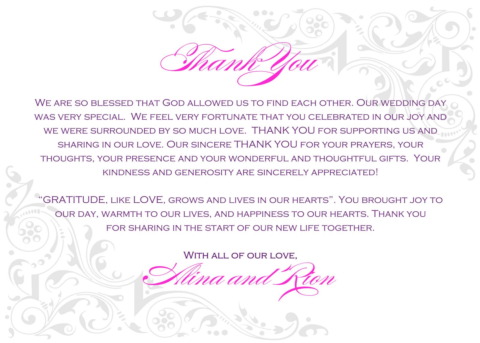 Thanks For Wedding Invitation Quotes: Religious Wedding Quotes Of Thanks. QuotesGram