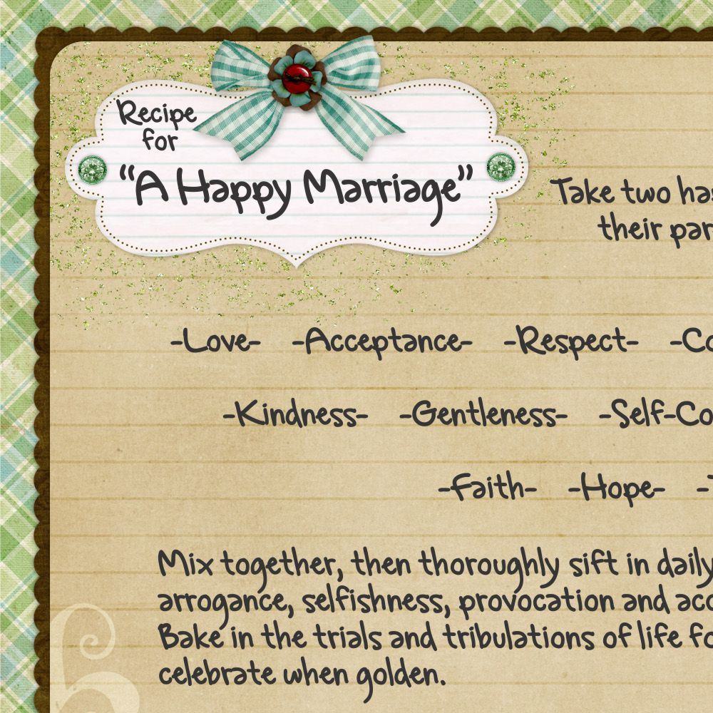 Happy Marriage Quotes: Recipe For A Good Marriage Quotes. QuotesGram