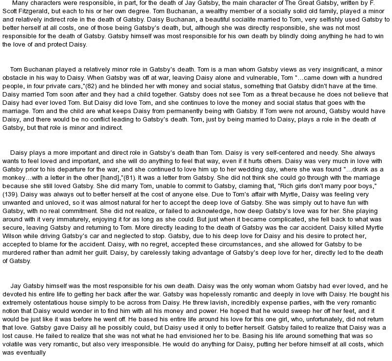 critical essay great gatsby god