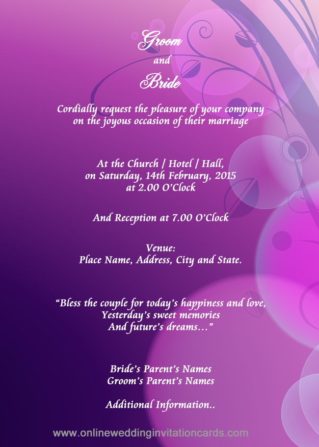 Free Electronic Wedding Invitations Templates – Free Wedding Invitation Card Templates