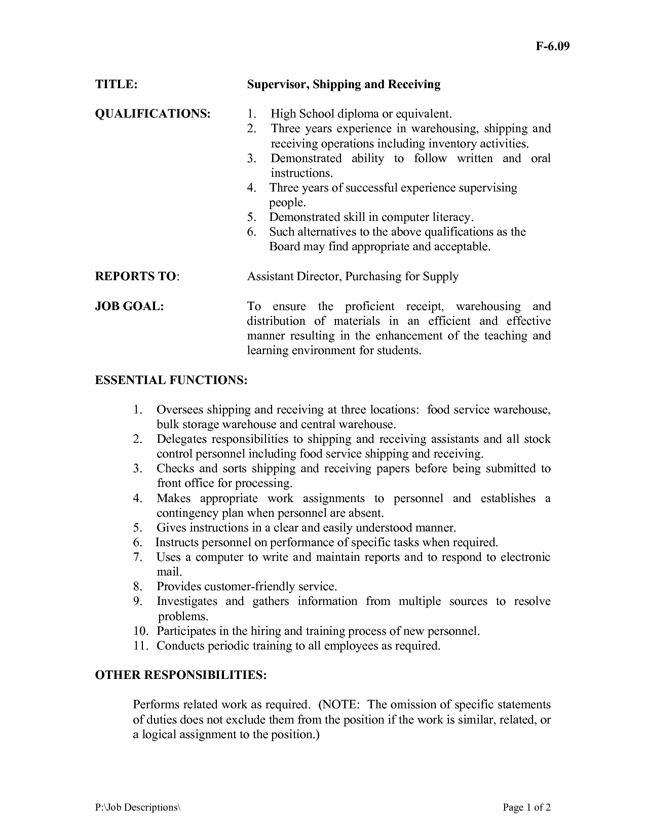 Shipping And Receiving Resume 3 gregory l pittman shipping and receiving Warehouse Receiving Clerk Job Description Find Warehouse Jobs Warehouse Receiving Clerk Job Description Find Warehouse Jobs