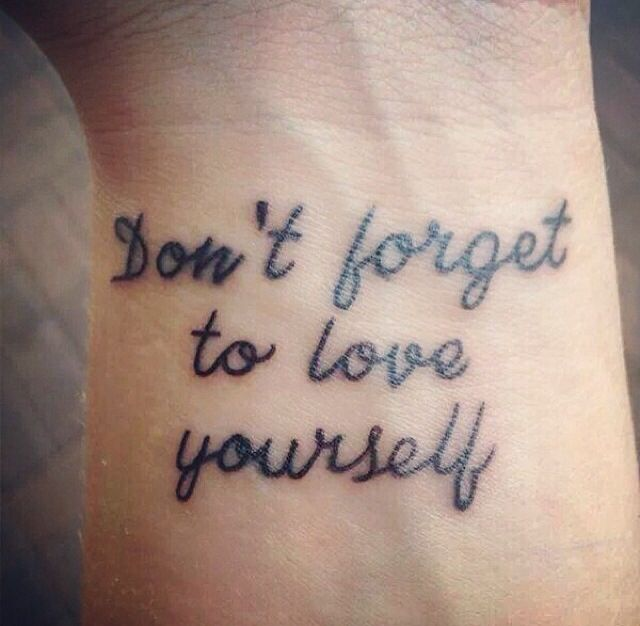 Love yourself tattoo quotes quotesgram for Tattoos love quotes