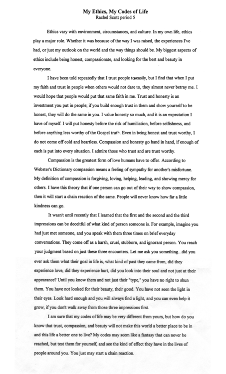 rachels scotts essay -- rachel joy scott, august 5 rachel scott was an inspired diary keeper and essay writer.