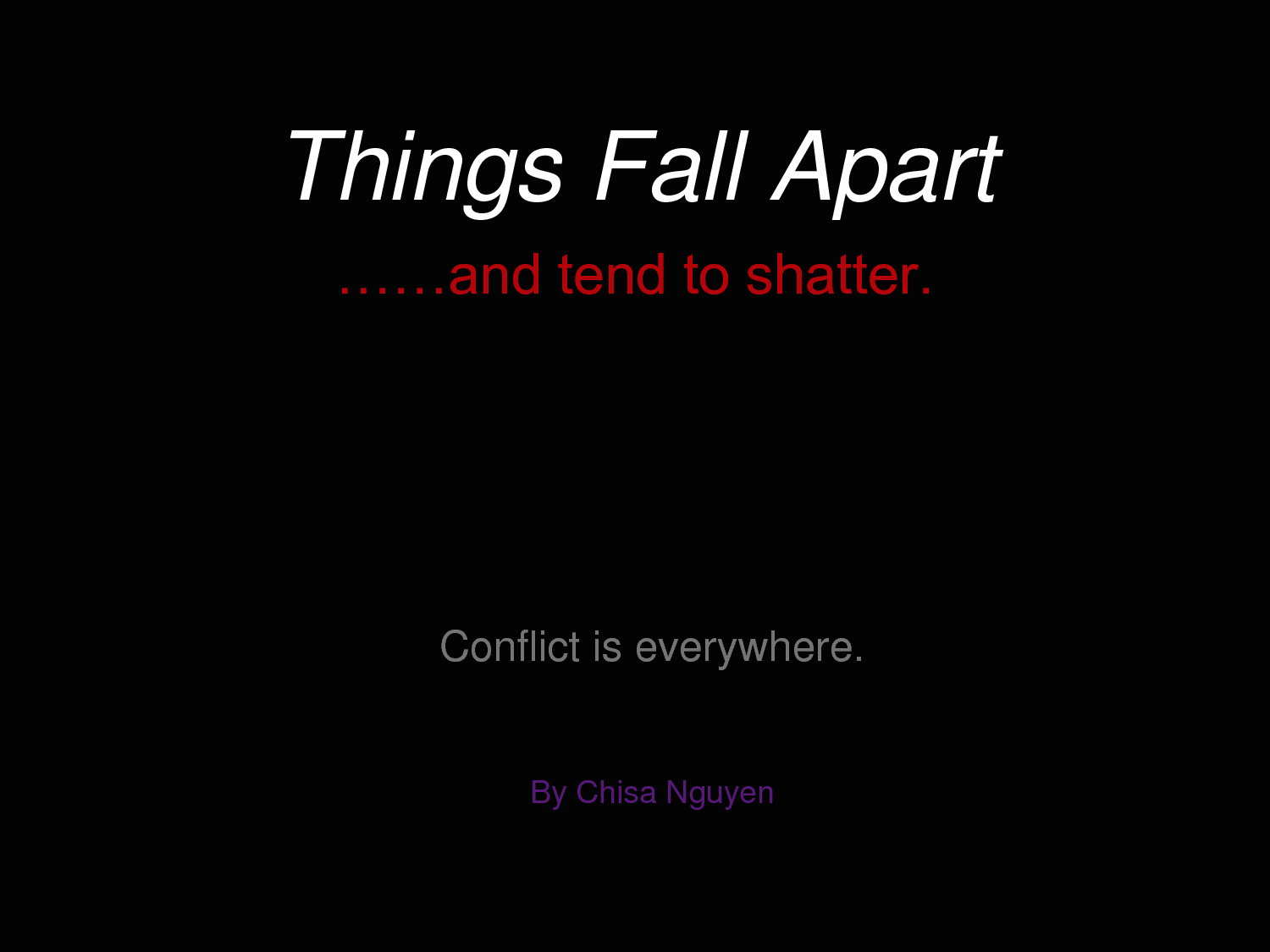 things fall apart by chinu achebe Things fall apart by chinu achebe essay  in contrast, achebe's things fall apart is a story about civilized africa and their traditions.