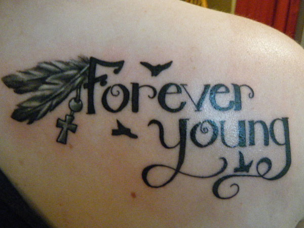 Cross tattoos with quotes quotesgram for Forever young in japanese tattoo