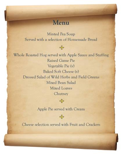 Food of medieval times quotes quotesgram for Tudor menu template