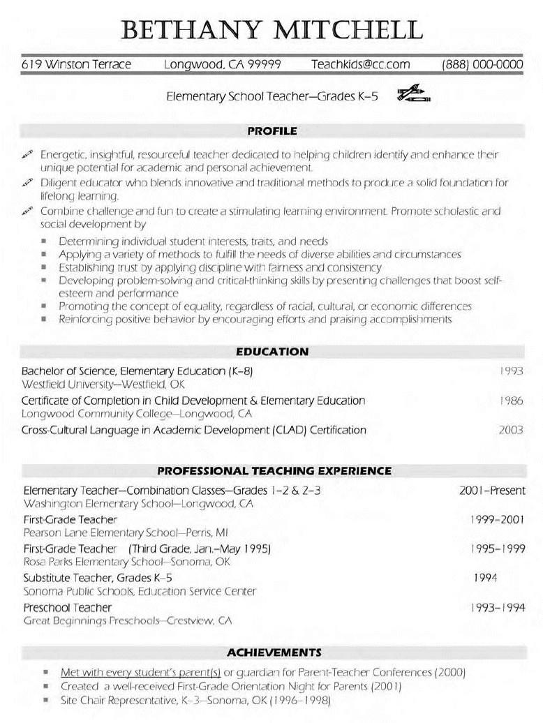 School Teacher Resume Sample free sample teacher resume examples – Elementary Teacher Resume