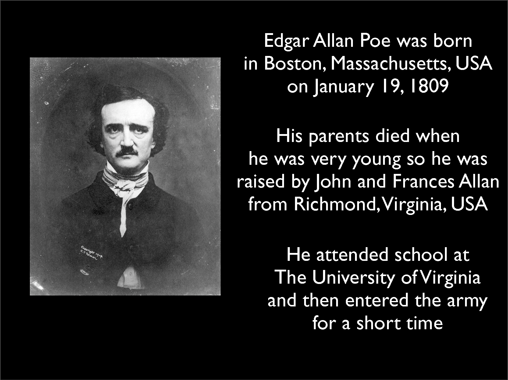 biography of edgar allen poe essay Check out a free essay example about edgar allan poe's life from a writer biography and the writer's path of alan poe edgar poe was one of the three.