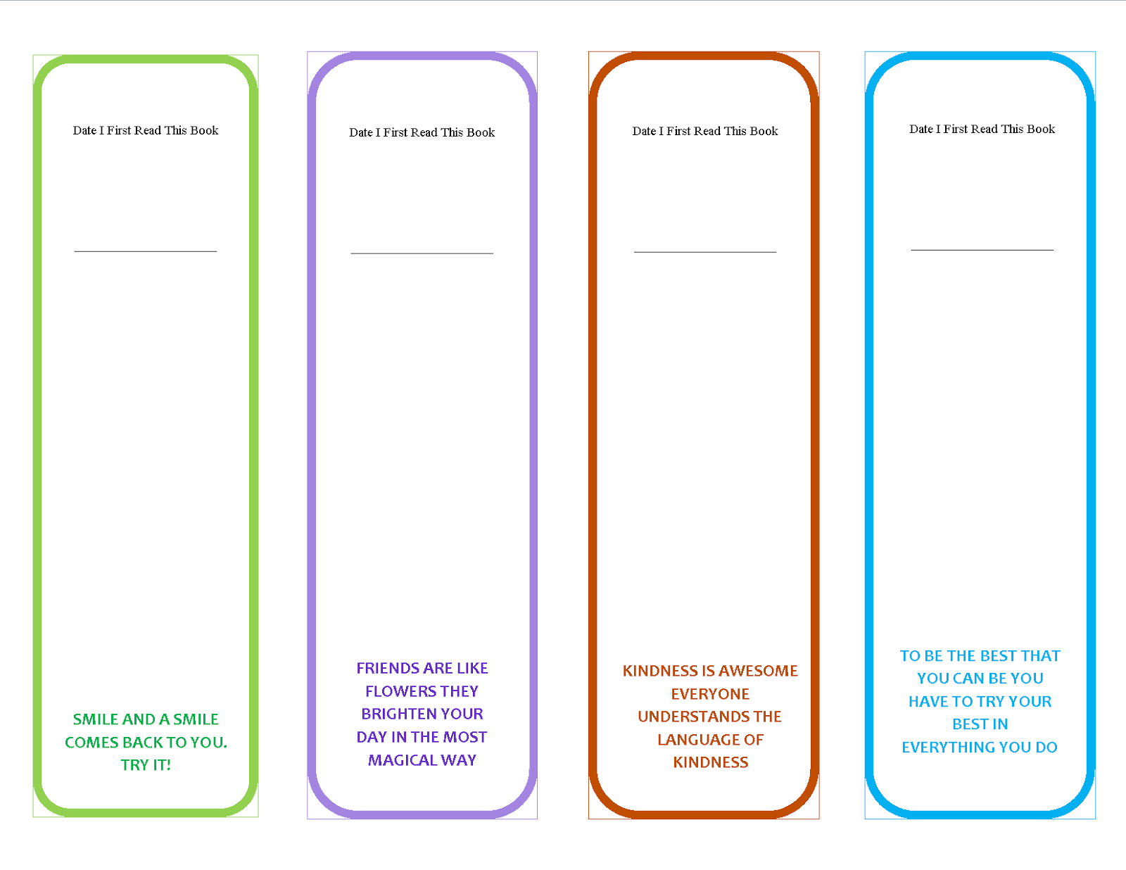 This is a photo of Declarative Free Printable Bookmark Templates