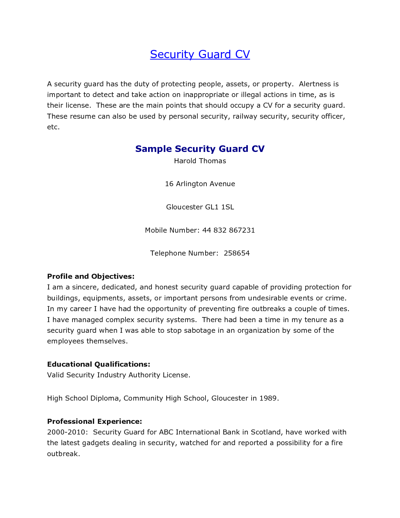 security guard cv sample security guard cv example learnistorg how to write a cover letter for - Security Resume Sample