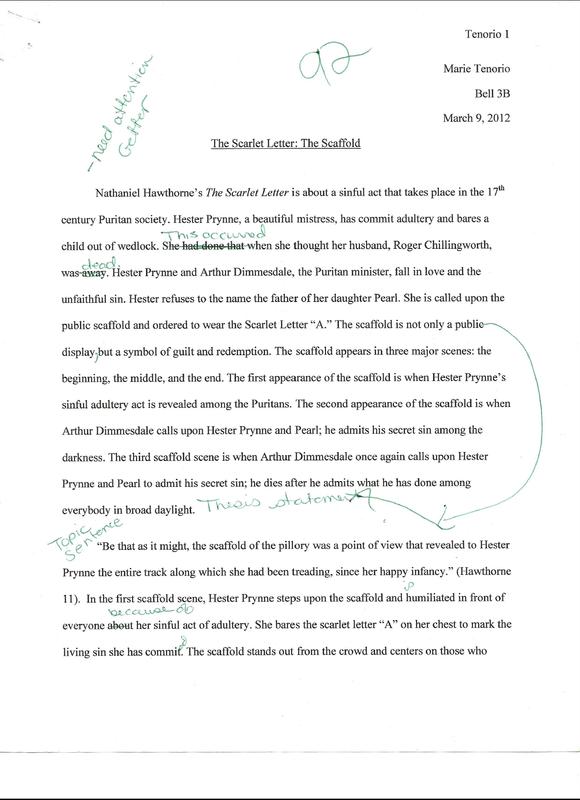 Scarlet letter scaffold scene essay
