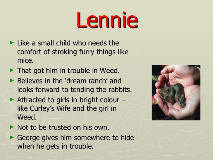 of mice and men essay about lennie Explication essay about steinbeck's novel of mice from the ideas gleaned from the characters george and lennie, of mice and men is actually a demonstration of.
