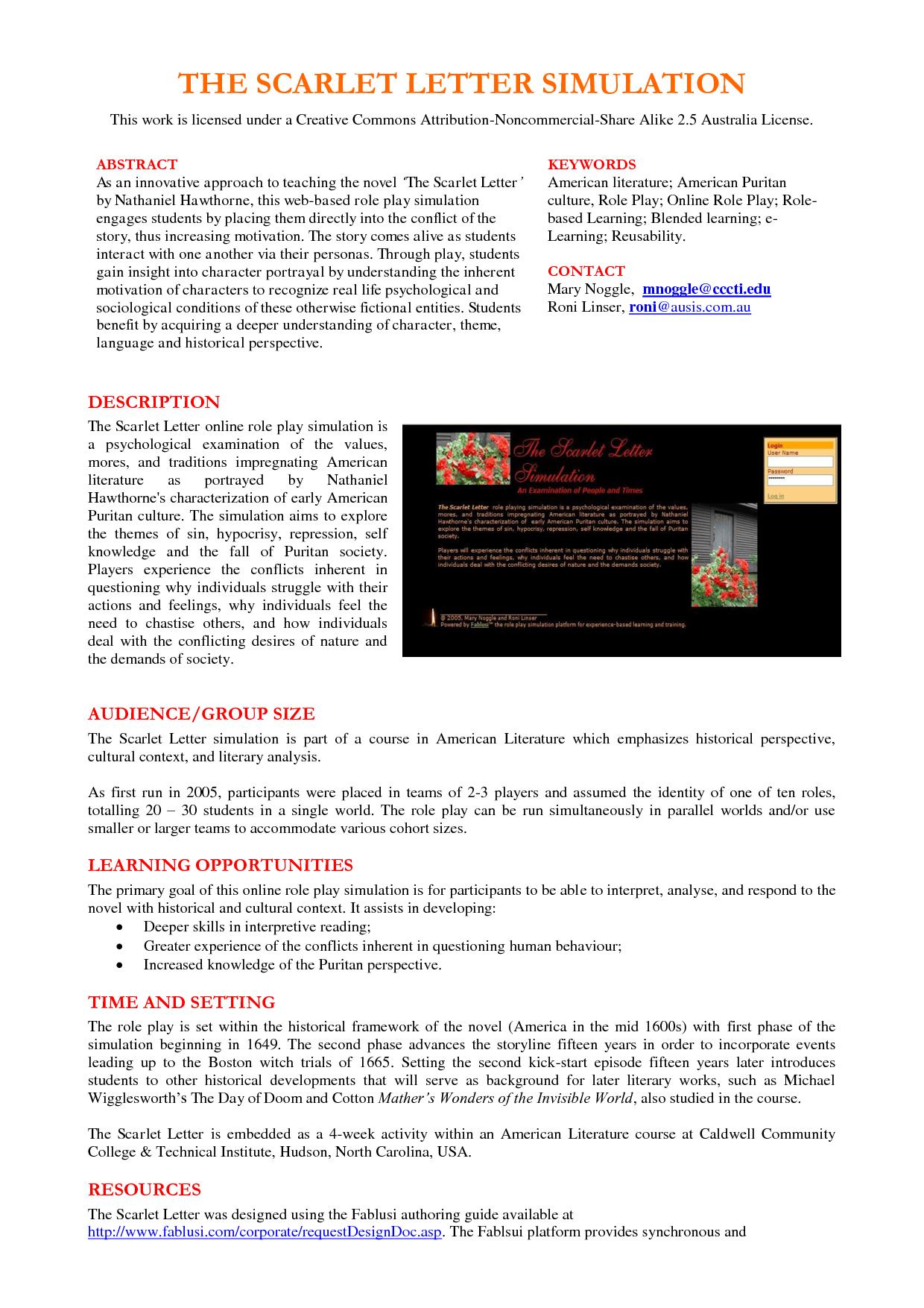 an analysis of earnest sandeens interpretation of the scarlet letter