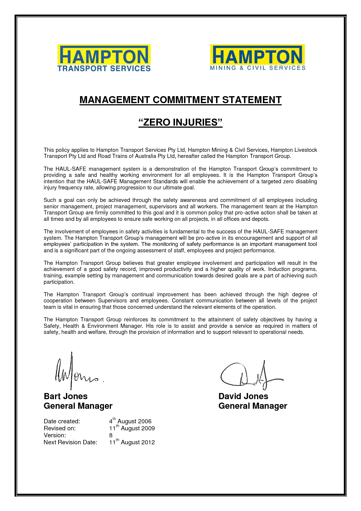 personal safety commitment statements