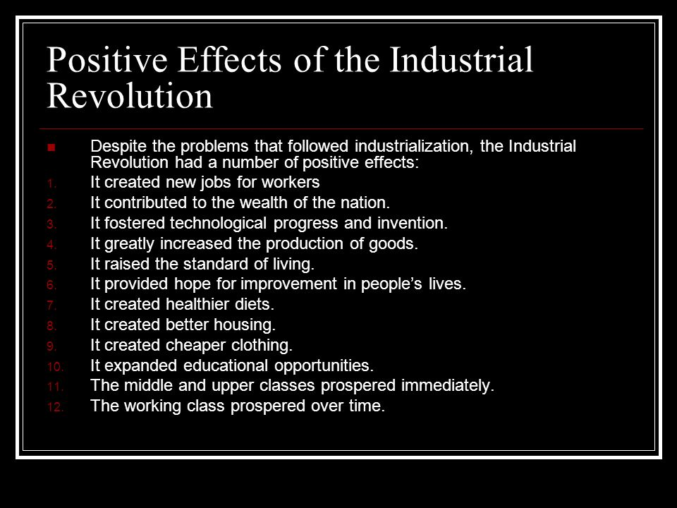 What was the cause and effect of the Industrial Revolution?