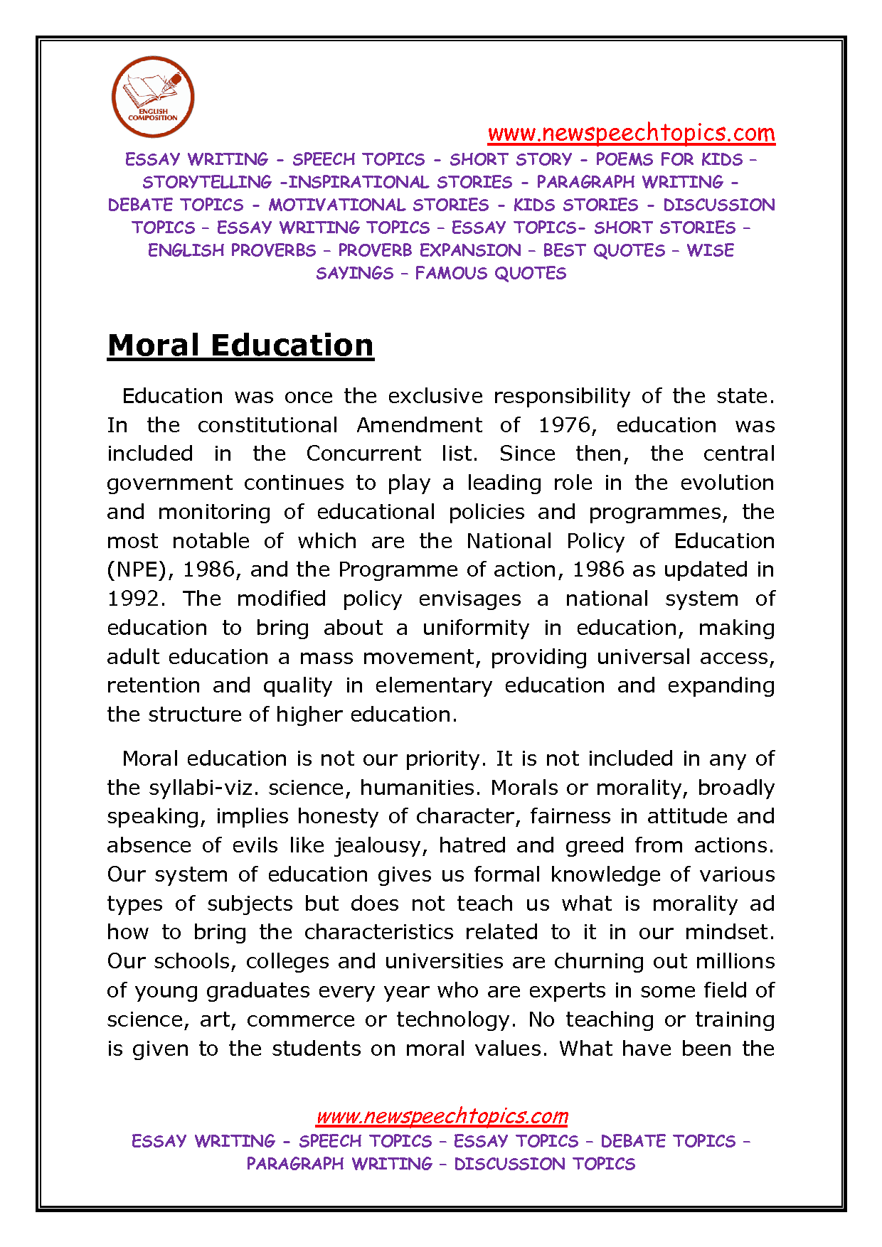 need for moral education School is of great importance when it comes to moral development  of the  family unit and collapse of society create the need for morals to be.