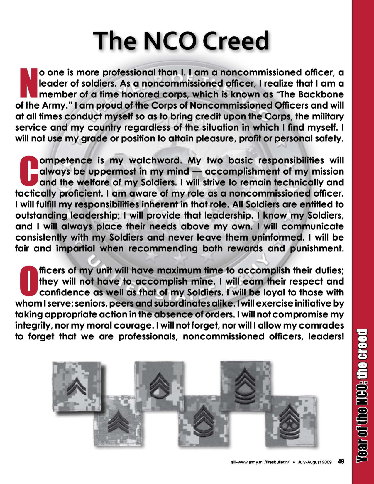 disrespect non commissioned officer and soldiers creed Creeds the soldier's creed the non-commissioned officer's creed no one is more professional than i i am a noncommissioned officer, a leader of soldiers.