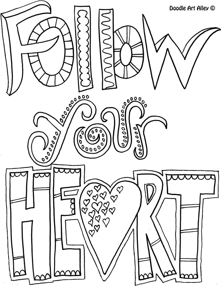 Nifty image inside printable quotes to color