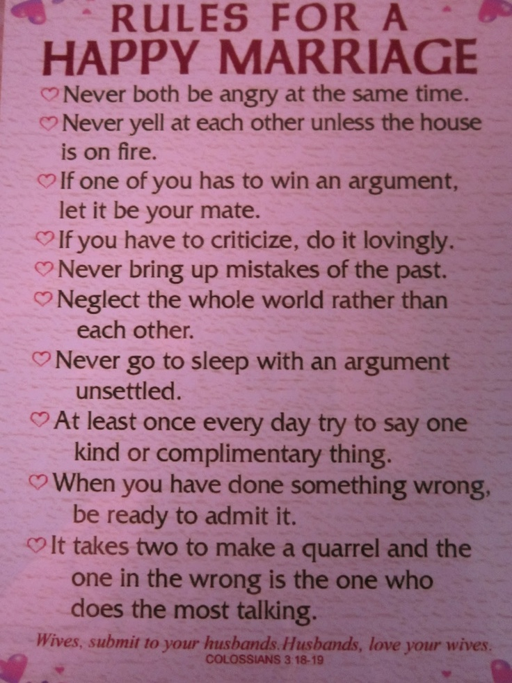 simple rules for a good relationship